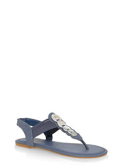 Girls 11-4 Metallic Accent Thong Sandals - DENIM - 1737014060046
