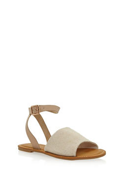 Girls Flat Open Toe Sandals - NATURAL - 1737014062006