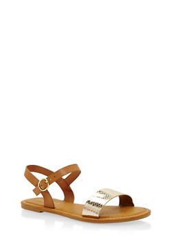 Girls Faux Leather Single Strap Sandal - 1737014062018