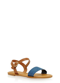 Girls 11-4 Faux Leather Single Strap Sandal - 1737014062018