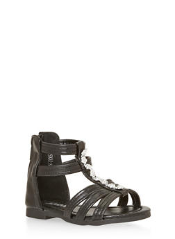 Girls Flower Studded Gladiator Sandals - 1737046950016