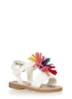 Girls Rainbow Tassel Sandals - 1737046950017