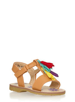 Girls 5-10 Faux Leather Multicolored Tassel Sandals - 1737046950018