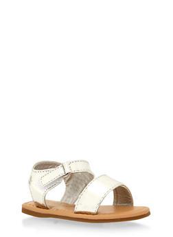 Girls 5-10 Silver Mirror Velcro Sandals - 1737046950020