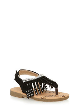 Girls 6-11 Studded Fringe T Strap Sandals - 1737046950027