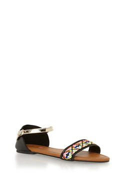 Girls 11-4 Woven Tribal Faux Leather Sandals - 1737046950030