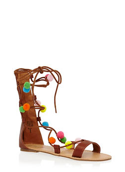 Girls 11-4 Tall Lace Up Gladiator Sandals with Pom Poms - 1737046950034