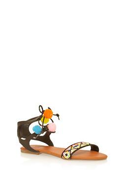 Girls 11-4 Tribal Pom Pom Sandals - 1737046950036