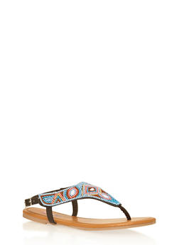 Girls 11-4 Multicolor Beaded Thong Sandals - 1737046950038