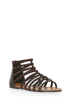 Girls 11-4 Rhinestone Studded Gladiator Sanals - 1737046950039