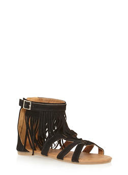 Girls 11-4 Fringed Faux Suede Gladiator Sandals - 1737061120001