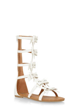 Girls Tall Studded Bow Caged Gladiator Sandals - 1737061120014