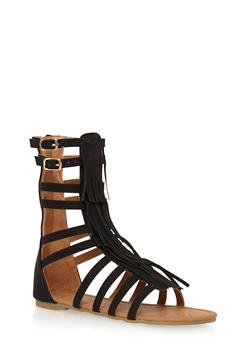 Girls Tall Faux Suede Fringe Gladiator Sandals - 1737061120133