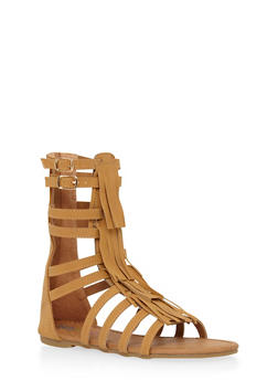 Girls 11-4 Tall Faux Suede Fringe Gladiator Sandals - 1737061120133