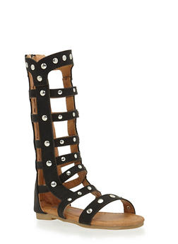 Girls 5-10 Tall Studded Zip Back Gladiator Sandals - 1737061120149