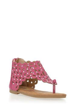 Girls 5-10 Laser Cut Thong Sandals with Rhinestone Studs - 1737061120151