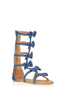 Girls Tall Bow Caged Gladiator Sandals - 1737061120155