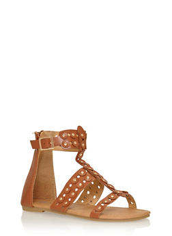 Girls 11-4 Studded Lasercut Gladiator Sandals - 1737061120161