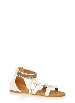 Girls 11-4 Metallic Beaded Fringe Sandals - 1737061120163