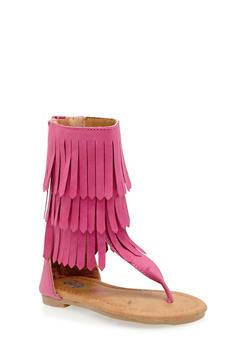 Girls 5-10 Tall Fringe Thong Sandals - 1737061120165