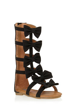 Girls Tall Bow Zip Back Gladiator Sandals - 1737061120167
