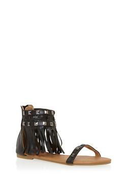 Girls 11-4 Studded Fringe Back Zip Gladiator Sandals - 1737061120179