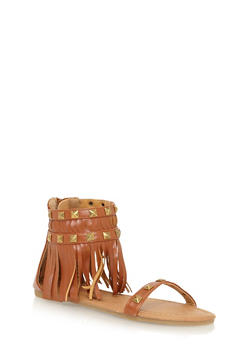 Girls 11-4 Studded Fringe Back Zip Gladiator Sandals - 1737061120179