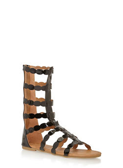 Girls 11-4 Tall Oval Cut Caged Gladiator Sandals - 1737061120181