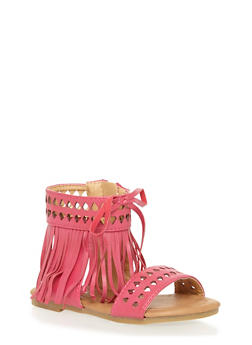 Toddlers Faux Leather Fringe Sandals with Cutouts - 1737061120183