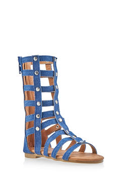 Girls 5-10 Tall Caged Gladiator Sandals with Studs - 1737061120189