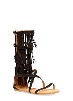 Girls 11-4 Tall Fringe Gladiator Sandals - 1737061120193