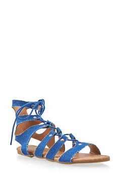 Girls 11-4 Lace Up Caged Gladiator Sandals - 1737061120197