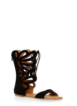 Girls 11-4 Tall Loop Cutout Gladiator Sandals - 1737061120199