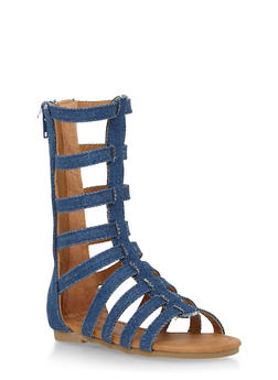 Girls 5-10 Tall Faux Leather Gladiator Sandals with Zip Back - 1737061120203