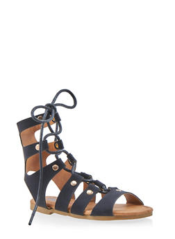 Girls 5-10 Tall Lace Up Studded Gladiator Sandals - 1737061120205
