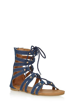 Girls 11-4 Cutout Lace Up Gladiator Sandals with Studs - 1737061120207
