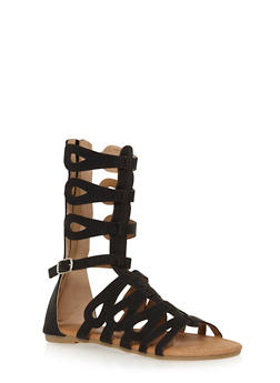 Girls 11-4 Tall Gladiator Sandals with Caged Loops - 1737061120214