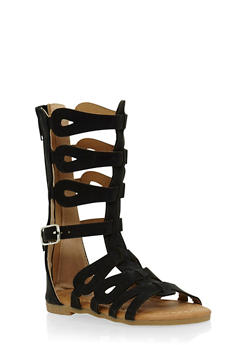 Girls Tall Gladiator Sandals with Back Zip - 1737061120223