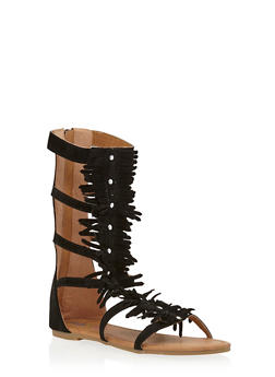 Girls 11-4 Tall Studded Fringe Trim Gladiator Sandals - 1737061120226