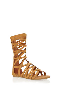 Girls 11-4 Tall Strappy Studded Gladiator Sandals - 1737061120228