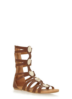 Girls 11-4 Tall Gladiator Sandals with Metallic Accents - 1737061120230