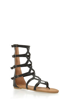 Girls Tall Gladiator Sandals with 4 Buckle Straps - 1737061120233