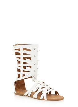 Girls 11-4 Tall Rhinestone Studded Gladiator Sandals - 1737061120234