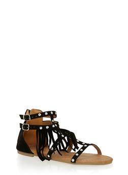 Girls Studded Fringe Faux Suede Gladiator Sandals - 1737061120240