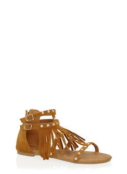 Girls 11-4 Studded Fringe Faux Suede Gladiator Sandals - 1737061120240