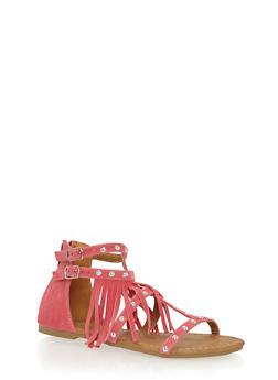 Girls 11-4 Studded Fringe Faux Suede Gladiator Sandals - 1737061120240
