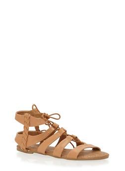 Girls 11-4 Braided Trim Tie Up Gladiator Sandals - 1737061120248