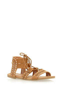 Girls 11-4 Tie Up Studded Gladiator Sandals - 1737061120250