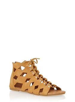 Girls Studded Cutout Gladiator Sandals - 1737061120252