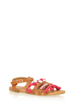 Girls Beaded Pom Pom Gladiator Sandals - 1737061120261
